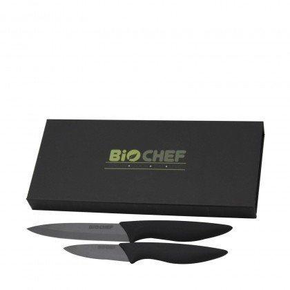 Set Cuchillos de Cerámica BioChef color Negro fuera de su caja